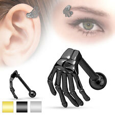 1 Pc BLK Titanium Skeleton Hand Tragus, Cartilage Barbell Eyebrow Ring 16g 5/16""