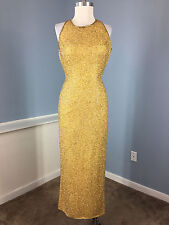 Cache Gold Embellished Beaded Long Formal Gown Dress Excellent 100% Silk S party
