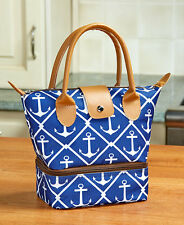Dual Compartment Insulated Lunch Tote Bag Anchor Pattern School Work Picnic