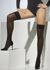 Adult Gothic Burlesque Black Striped Stockings