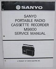SANYO M9800 Cassette Boombox Original SERVICE MANUAL Ghetto Blaster M-9800