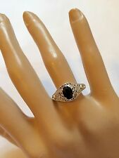 10k White Gold Solitaire Ring Onyx 3.8 Grams Size 8