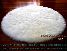 Classic Round Shaggy Rug Sheepskin Area Throw / Off White Faux Fur / 5'