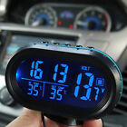 Auto Car Digital LCD Monitor Thermometer Voltage Alarm Clock 12V-24V Black