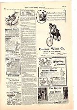 1895 bicycle 9 ads on 1 page overman wheel  columbia  crescent remington victor
