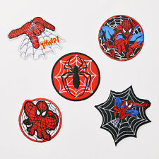 "SPIDER-MAN Marvel Superhero ""WEB"" Patch Set, 5 Iron-On Patches - UK, Free Post"