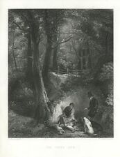 ANTIQUE HUNTER HUNTING MAN HUNTS RABBIT GAME BIRDS HOUNG DOGS WOODS ART PRINT