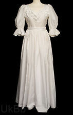 Vintage 1980s Ceremonia Ruffled Victorian Boho LARP Wedding Dress Size 6 -8 R122