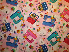 RETRO SEWING MACHINES SEW ITEMS SCISSORS PINK COTTON FABRIC FQ