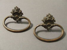 LOT 2 ANTIQUE VINTAGE DRAWER PULLS BRASS SINGLE PULL RING (SD3 19)