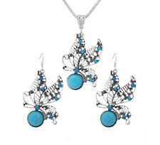 Silver Plated Turquoise Stone Vintage Antique Necklace And Earring Jewellery Set