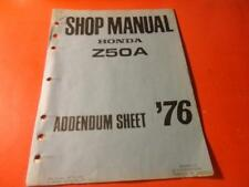 OEM FACTORY HONDA 1976 Z50A ADDENDUM SHEET SHOP MANUAL 3 PAGES