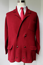 Turnbull Asser Heavy Cashmere Cardigan Coat Double Breasted XL Deep Red Sweater