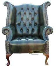 Chesterfield Buttoned Seat Queen Anne High Back Wing Chair Green Leather