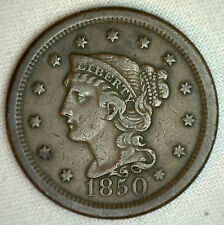 1850 Braided Hair Large Cent US Coin One Cent 1c Copper YG #R