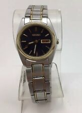 Womans Seiko Wristwatch, Two Tone Bracelet, Blue Face, Day & Date, 7N83-0011