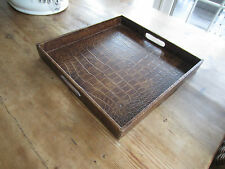 Brown Embossed Square Leather Serving Tray - TRES CHIC