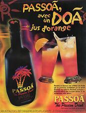 Publicité Advertising 2001 PASSOA  liqueur  fruits de la passion jus d'orange