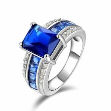 Fashion Nobby Size 11 Wedding Blue Sapphire 18K Gold Filled Mens Engagement Ring