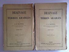 """DUE LIBRI ANTICHI BROSSURE ORIGINALE """"DRAINAGE DES TERRES ARABLES"""" 1856"""