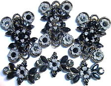6 - 2 HOLE BEADS BLACK & GREY BLACK DIAMOND & JET AUSTRIAN CRYSTAL FANCY FLORAL