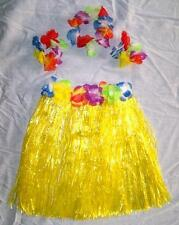 KIDS SIZE HAWAIIAN HULA YELLOW SKIRT PARTY SET new childrens luau bracelet hat