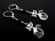 A PAIR OF TIBETAN SILVER  AND BLACK  BEAD CAT LEVERBACK HOOK  EARRINGS. NEW.