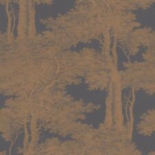 Metallic Copper Trees Wallpaper on Charcoal Paste the Wall Toile de Jouy 605426