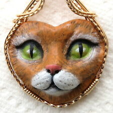 Green Eyed Brown Cat Face Cabochon Pendant 14K Rolled Gold Animal Jewelry Clay