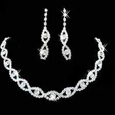 Silver Diamante Necklace Set with Dangly Earrings