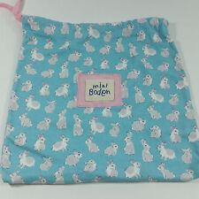 "Mini Boden Cotton Drawstring Bag Pouch Bunny Rabbit Blue Pink 11 X 12"""