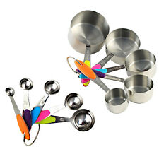 10XStainless Steel Measuring Cups And Spoons With Soft Handle Kitchen Tool Set Q