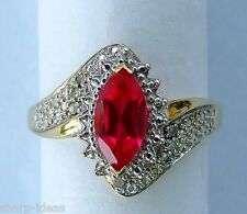 Ladies Man Made Marquise Ruby & Diamond Ring - 10K Yellow Gold