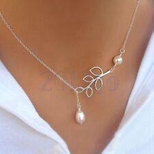 Mode Pendentif Feuille Mini Perle Chaîne Collier Bijoux de Femme Cadeau HG