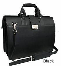 Top Open LAWYER CATALOG PILOT Doctor LEATHER Case Carriage Bag Solid Black
