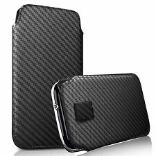 For ZTE Grand S3 - Carbon Fibre Pull Tab Case Cover Pouch