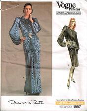 Vtg 1987 PATTERN for Misses' OSCAR DE LA RENTA GOWN Size 12 UNCUT Vogue 1997