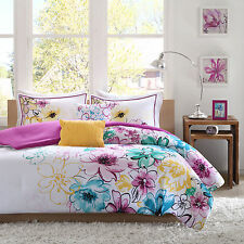 TWIN/TWIN XL 4 Pc Girls FLORAL BEDDING SET Teal Pink Yellow Teen Dorm Reversible