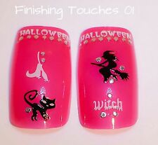 Nail Art Sticker- 3D Halloween HW4 Decal Witch Cat JH078 Silver Black