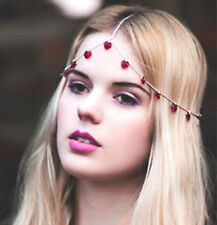Red Heart Headband Silver Vintage Love Hairband Head Hair Chain Birthday Party