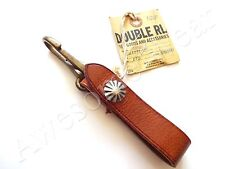 New Ralph Lauren RRL Vintage Tan Brown Leather Concho Shell Long Key Chain