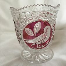Vintage Retro Bohemian Ruby Red Cut To Clear Art Glass Bird Vase