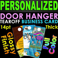 1000 Door Hangers Tear Off Business Card GLOSSY Full Color 2 Sided Custom Print