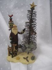 "Crazy Mountain wire tree with Santa reindeer bird house 8.5"" tall"