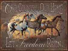 Let Freedom Reign Metal Sign, Horses, Rustic Country, Cabin Decor, Ranch Decor