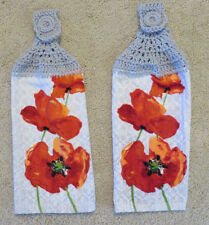 Crocheted top kitchen towels- Poppies Themed Towels with light gray yarn tops