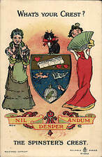 Heraldic Comic. What's Your Crest? in Reliable Series # 9309. Spinster's Crest.