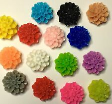 18 x resin rose flower plastic flat back cabochon Assorted 15mm - FREE POST
