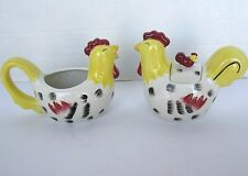 Country Roosters Creamer & Sugar Bowl Set by Chestnut Creek 2005, Chickens