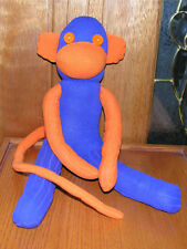 "20"" Bronco Blue & Orange Sock Monkey Hand Made New Plush Stuffed Toy"